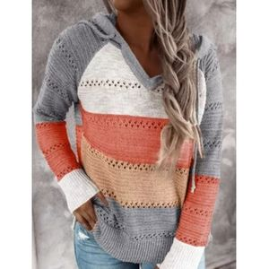 Knitted Colorblock Pullover Beach Wear Hoodie